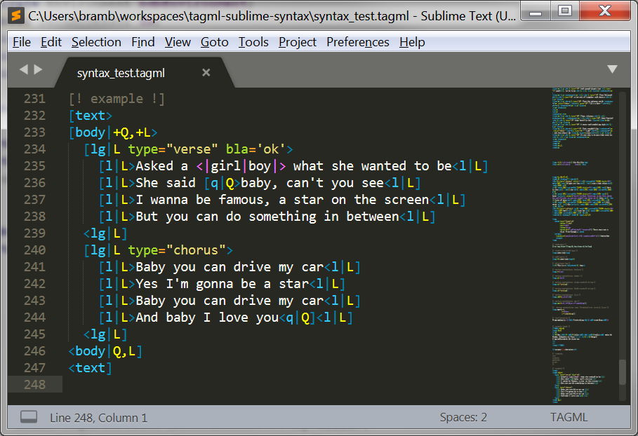 Screen grab from SublimeText using the MonokaiFreeTAGML theme