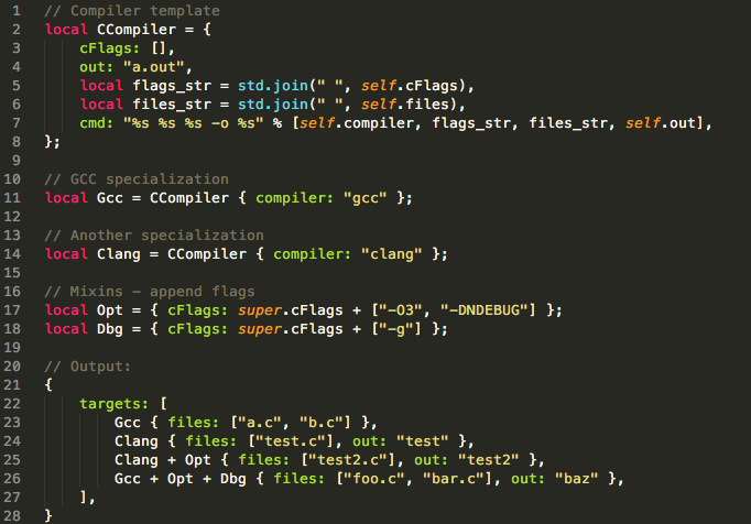 screenshot of Jsonnet syntax highlighting