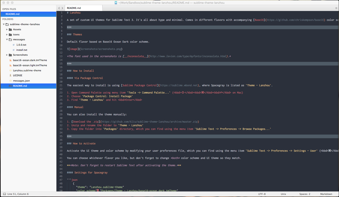 Lanzhou theme for sublime text