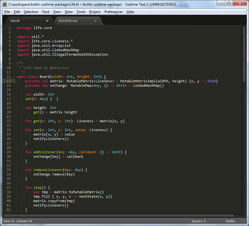 Kotlin Sublime Text 2 Package Screenshoot