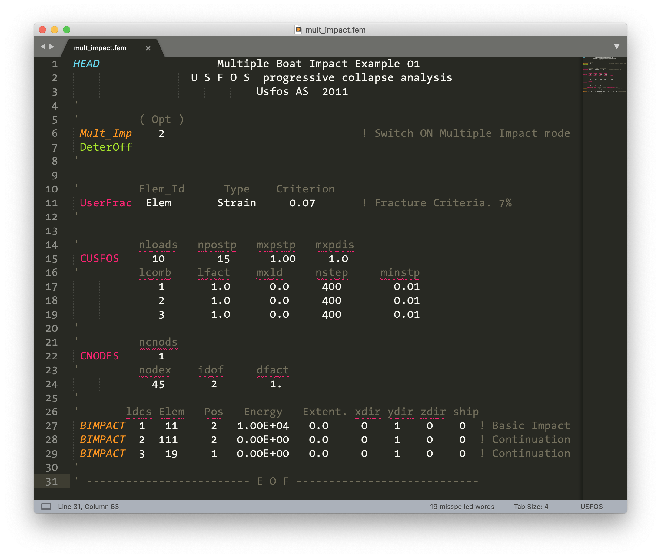 USFOS control file syntax highlighted in Sublime Text