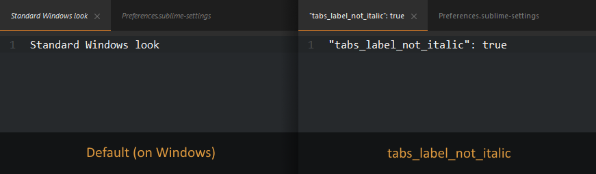 Afterglow tabs not italic