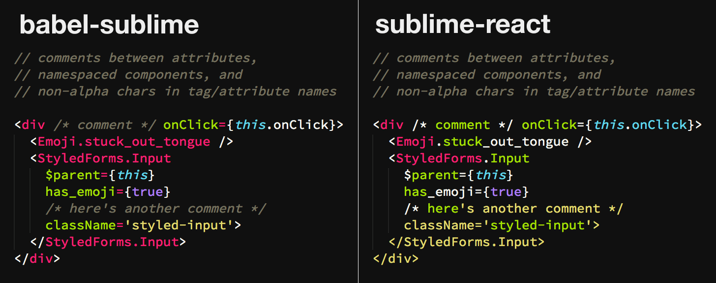babel-sublime-vs-sublime-react--jsx-comments-etc