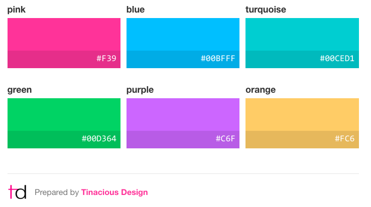 Colours Curated By Web And Mobile Designer Developer Tina From Tinacious Design