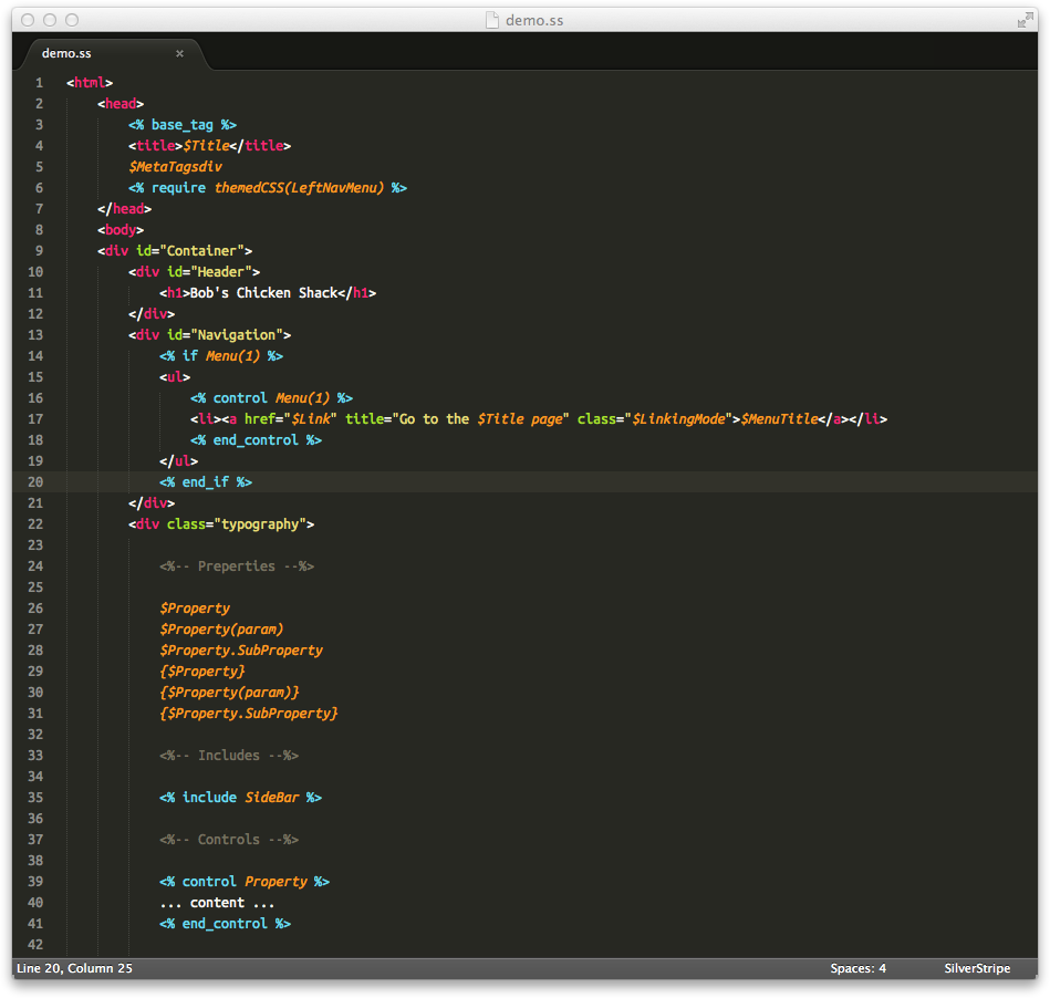 Screenshot of Sublime Text Silverstripe in action!