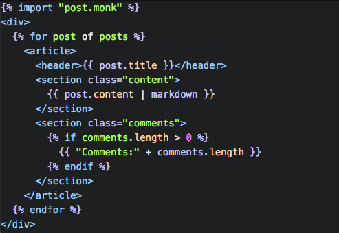 Monkberry template in Atom